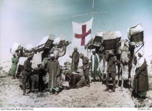 Four camel ambulances attached to the Imperial Camel Corps, Egypt, colour tinted AWM PO3631.002