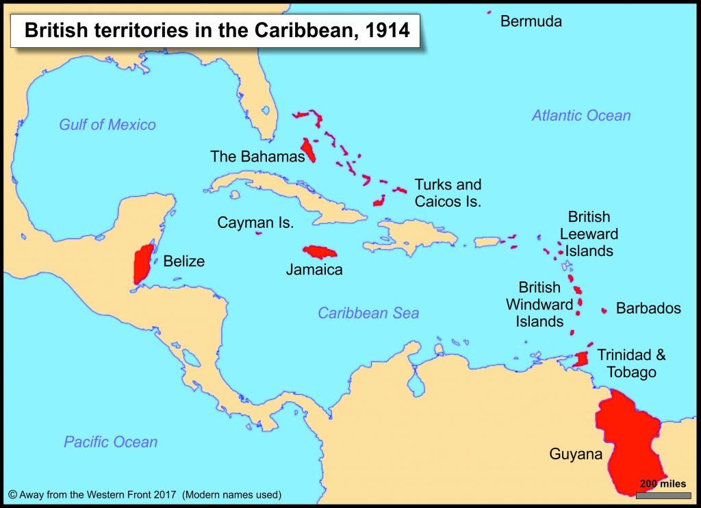 Caribbean map 1914a - Away from the Western Front