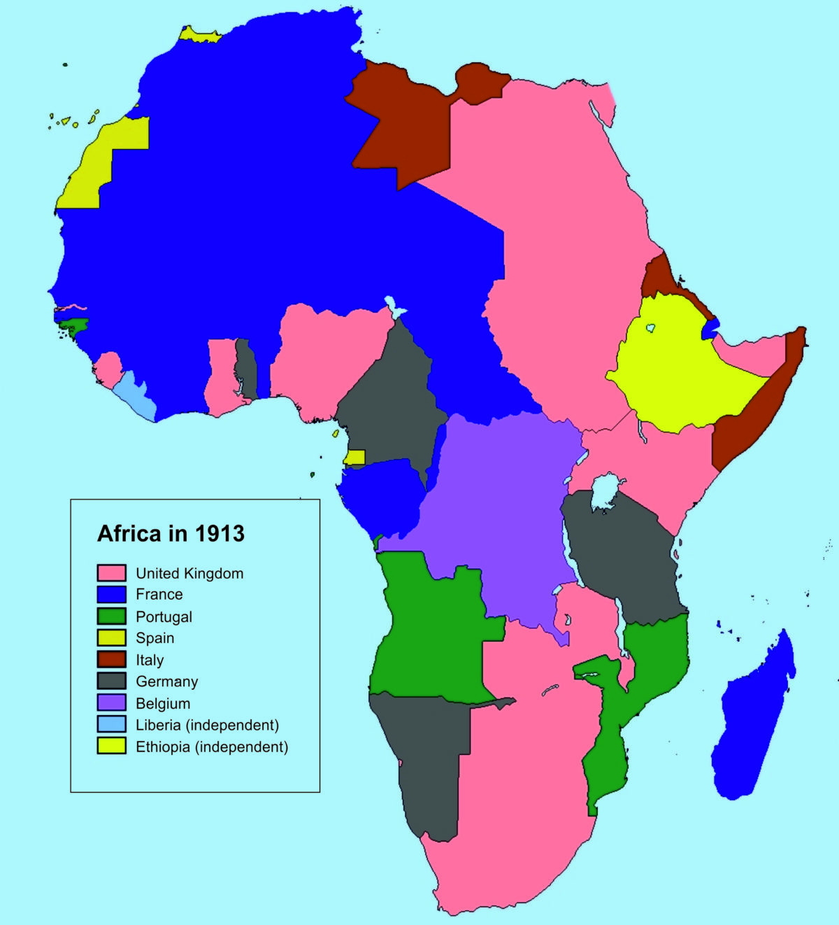 Colonial Africa in 1913 (Source: Wikipedia)   Away from the